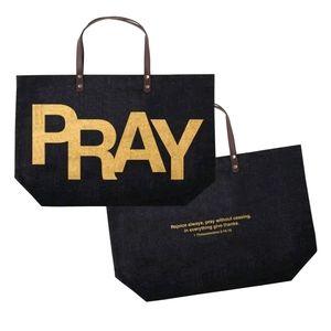 'PRAY' Black & Gold Jute Tote Bag